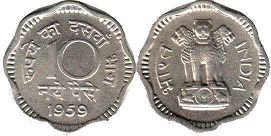 coin India 10 new paise 1959