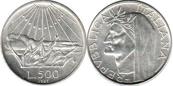 coin Italy 500 lire 1965