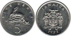 coin Jamaica 5 cents 1993