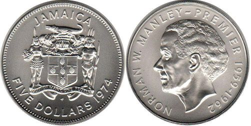 coin Jamaica 5 dollars 1974