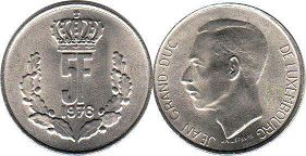 coin Luxembourg 5 francs 1976