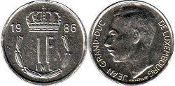 coin Luxembourg 1 franc 1986