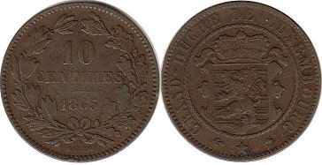 coin Luxembourg 10 centimes 1865