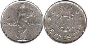 coin Luxembourg 1 franc 1939