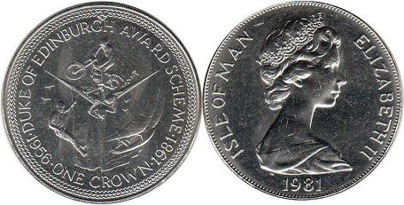 coin Isle of Man crown 1981