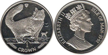 coin Isle of Man crown 1991