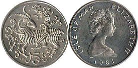 coin Isle of Man 5 pence 1981