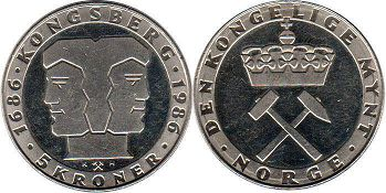 coin Norway 5 kroner 1986