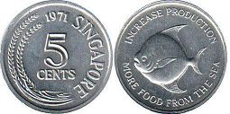 coin Singapore 5 cents 1971