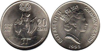 coin Solomon Islands 20 cents 1995