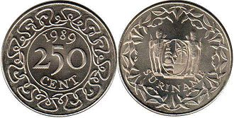 coin Surinam 250 cents 1989