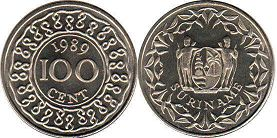 coin Surinam 100 cents 1989