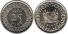 coin Surinam 25 cents 1989