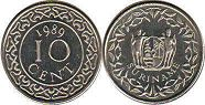 coin Surinam 10 cents 1989