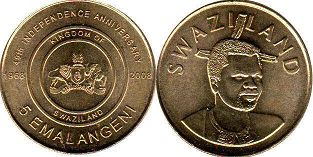 coin Swaziland 5 emalangeni 2008 Independence