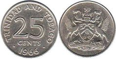 coin Trinidad and Tobago 25 cents 1966