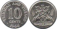coin Trinidad and Tobago 10 cents 1966