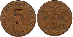 coin Trinidad and Tobago 5 cents 1966