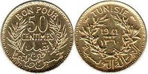 piece Tunisia 50 centimes 1941