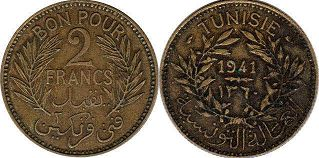 piece Tunisia 2 francs 1941
