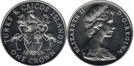 coin Turks and Caicos 1 crown 1969