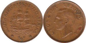 old coin South Africa 1/2 penny 1950