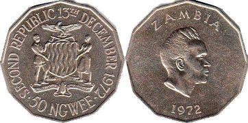 coin Zambia 50 ngwee 1972