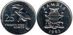 coin Zambia 25 ngwee 1992