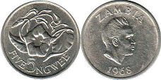 coin Zambia 5 ngwee 1968