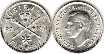 australian commemmorative coin 1 florin 1951