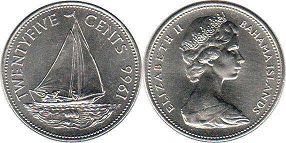 coin Bahamas 25 cents 1966