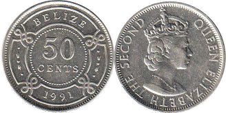 coin Belize 50 cents 1991