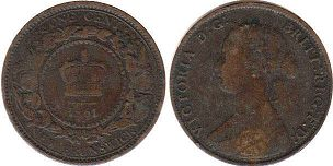 coin New Brunswick 1 cent 1861