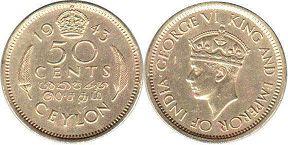 coin Ceylon 50 cents 1943