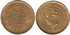 coin Ceylon 25 cents 1943