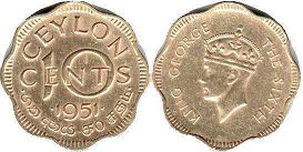 coin Ceylon 10 cents 1951