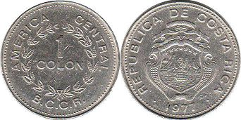 coin Costa Rica 1 colon 1977