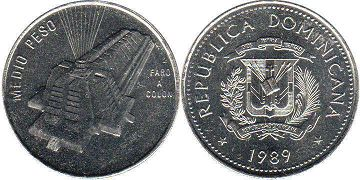 coin Dominican Republic 1/2 peso 1989