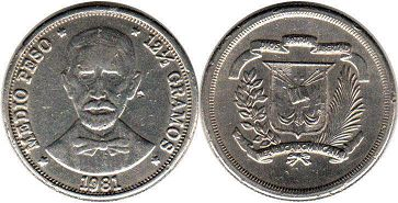 coin Dominican Republic 1/2 peso 1981