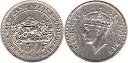coin BRITISH EAST AFRICA 50 cents 1948