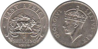 coin BRITISH EAST AFRICA 1 shilling 1950