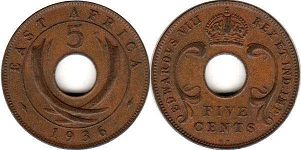 coin BRITISH EAST AFRICA 5 cents 1936