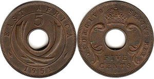 coin BRITISH EAST AFRICA 5 cents 1951