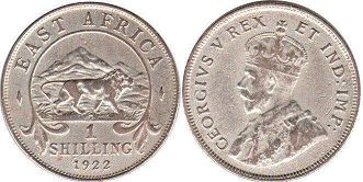 coin BRITISH EAST AFRICA 1 shilling 1922