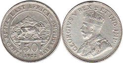 coin BRITISH EAST AFRICA 50 cents 1922
