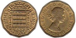 coin UK coin 3 pence 1961