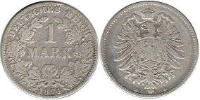 coin German Empire 1 mark 1874