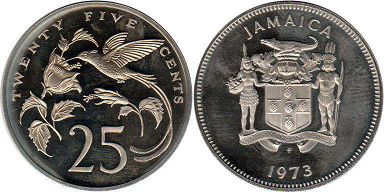 coin Jamaica 25 cents 1973