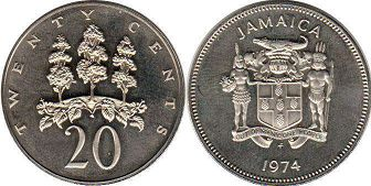 coin Jamaica 20 cents 1974