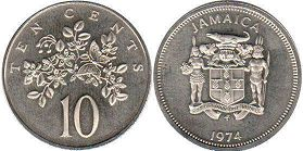 coin Jamaica 10 cents 1974